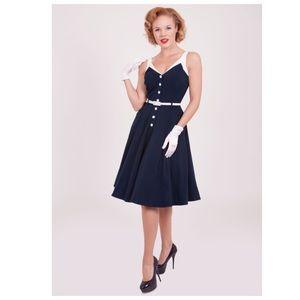BETTIE PAGE By Tatyana Navy Swing Dress Size S